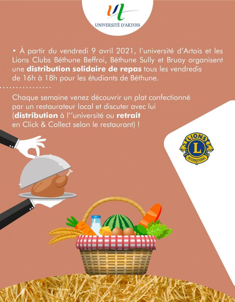 Distribution solidaire de repas avec le Lions Club et Le restaurant l'Ardoise