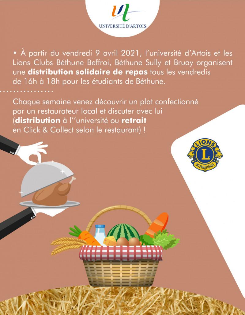 Distribution solidaire de repas avec le Lions Club et le restaurant le 36 Quai à Béthune